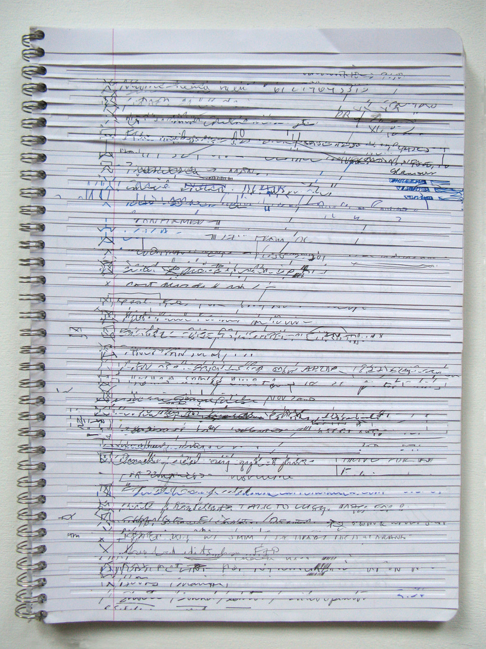 Lines , 2014                       notebook, ink, pencil, marker      11 ½ x 8 ¼""