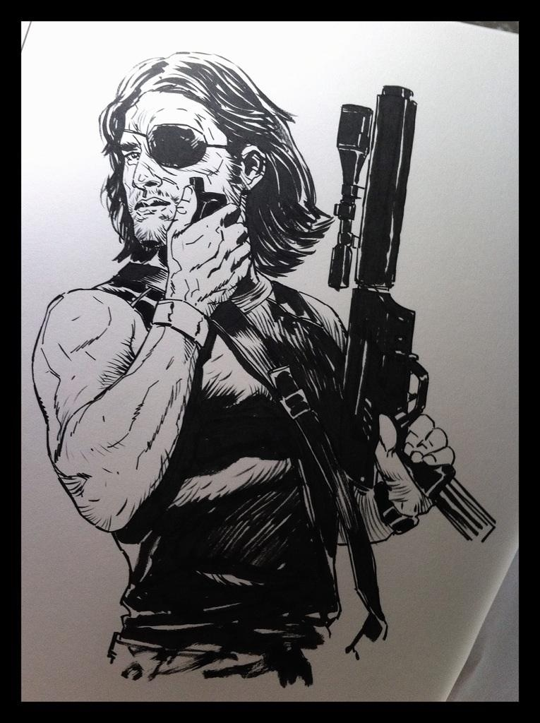 myvelocitysings: Inktober sketching - Day 001 Snake Plissken #Drawing #Inks #Comics #Inktober #Snake