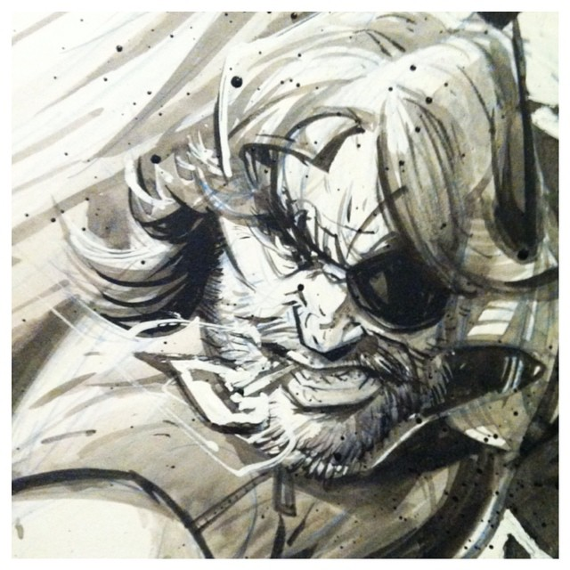 "chrisvisions :     ""Name's Plissken—"" #wip #ink #escapefromnewyork #snake"