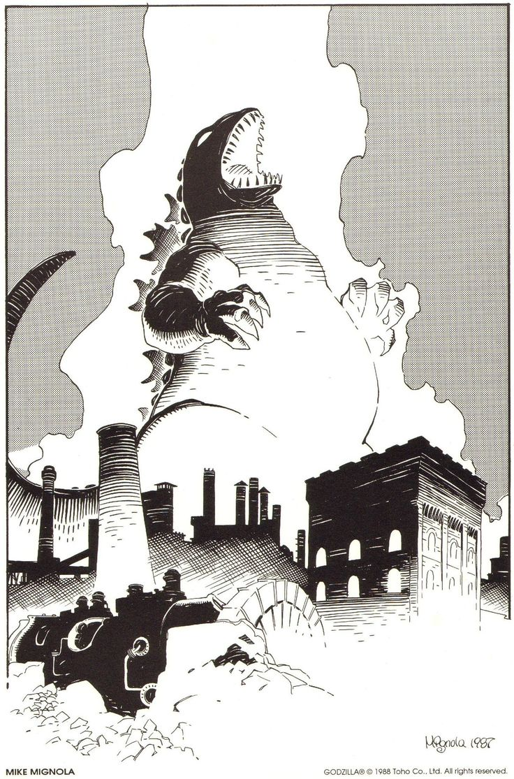 pizza-party :     Godzilla by Mike Mignola.