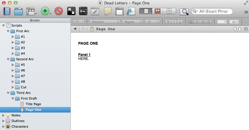 Starting in scripting on third arc of DEAD LETTERS.   This is the fun/terrifying part.