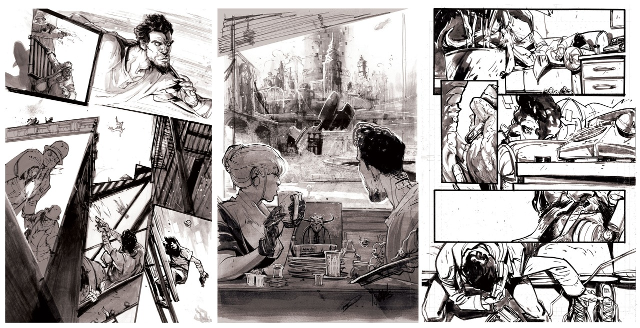 chrisvisions :     Day 2 of the challenge to post 3 pieces a day. Yesterday was covers, today is sequential pages. Here's three off the top of my head that were exciting to draw, but there's plenty —   DEAD LETTERS 01.03 - This was the page that really got me going working of issue 1. It's great when editors believe and you and let you try out new ways to approach storytelling, Smoochie boochies,  Eric  and  Chris     DEAD LETTERS 01.22 - Welcome to HERE! This page was in two pieces, the outside a nd inside of the diner were separate. How many easter eggs can you name?      DEAD LETTERS 06.11 - That tongue panel was simple, but sooo much fun.   Dead Letteers, Issue 7 hits stands Jan. 21st!!    www.chrisvisions.com   chrisvisions.tumblr.com   http://www.outofsteparts.bigcartel.com/artist/chris-visions  ___________________   Today, I'm challenging the spectacular  Jeff Stokely . Get ready for some cavity-giving eye candy!!