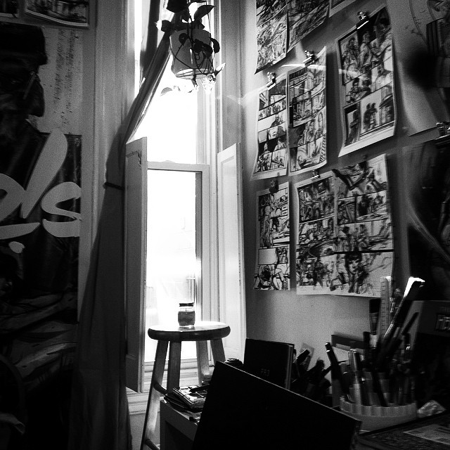 chrisvisions :     Black and White challenge: Day 3:   'Trapping the Muse' - Paul Pope wrote beautiful pieces in 'PULP HOPE' about trapping your Muse and 'cultivating your garden' , which Oscar the plant likes to remind me of every now and then. A phenomenal book both visually and through words. #treasure