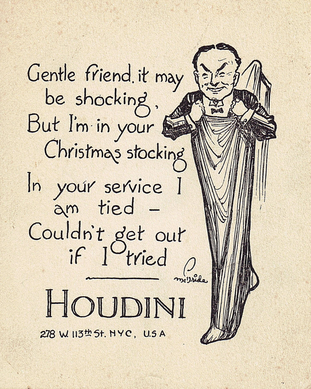 terry-tyson :      vintagemarlene :     merry xmas from houdini himself (via  houdinihimself.com )     Wow.