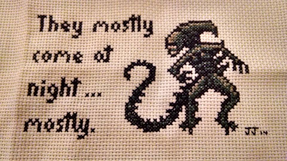 laurennmcc :     They mostly come at night…  mostly.    (Xstitch by the charming  Pickles Kintaro )