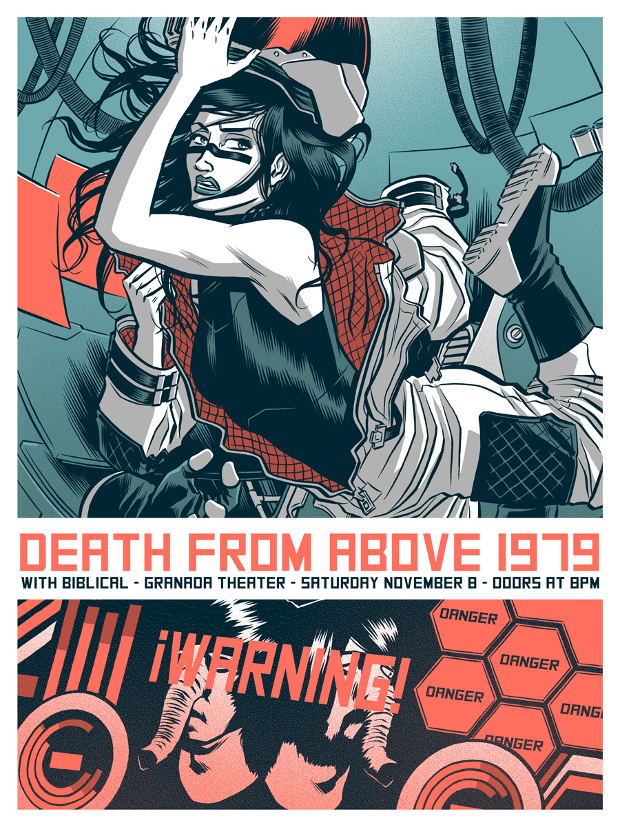 robertwilsoniv :      granadatheater :      Granada Gig Poster of the Week:  Death from Above 1979 by  Robert Wilson . This show will sell out so don't sleep on  these tickets.      Super excited to do a poster for  deathfromabove1979 . Go listen to their new album!     One of my favorite artists + one of my favorite bands