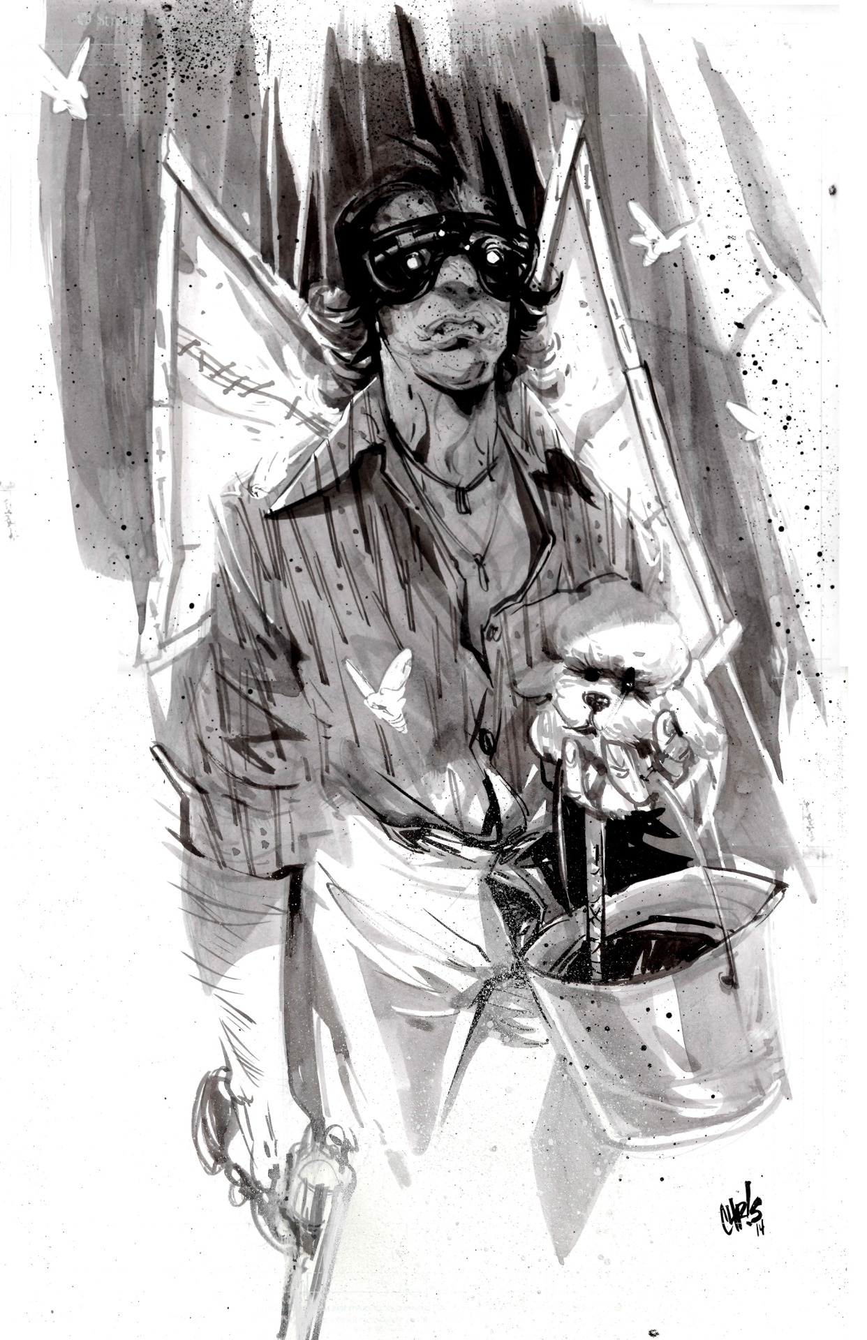 "chrisvisions :     Late Night Inktober no. 6: Jame Gumb aka 'Buffalo Bill'   This movie has stuck with me since I was a first grader.  I remember my parents driving us to the drive in, not knowing what was in store for us.  Where I was told to cover my eyes during 90 percent of the movie, where I also developed my skill of looking through the cracks between my fingers.   I remember the haunting, iconic poster, which was such a powerful image to me as a kid.  It scared me in a lingering way and I didn't know exactly why.  It and the film still captivate me to this day, which is one of many reason's it'll be our focus for our next time lapse video.  Can you guess which character I'll be drawing?   ""Toughened your nipples, didn't it."""