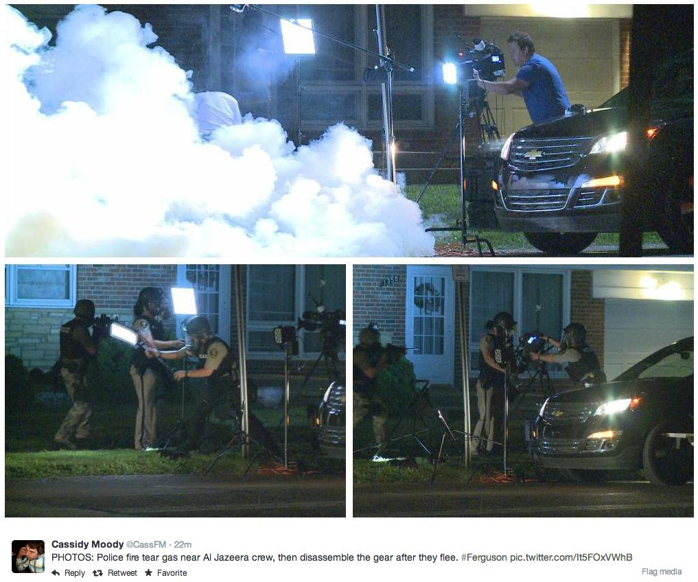 """Police fire tear gas near Al Jazeera crew, then disassemble the gear after they flee. #ferguson"""