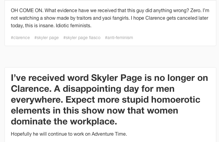 beckyhop :     Ohhhhh, I get it now. Skyler Page defenders don't care about his mental illness! They just think women and gays are gross and have cooties!