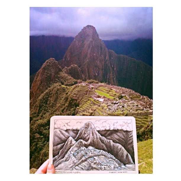 bustermoody :     Got to draw at Machu Picchu today with @jessicalmorgan. Dream achievement unlocked. #machupicchu #peru #incas