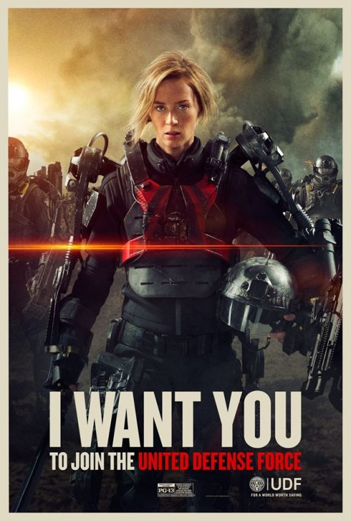 seanewilliams :      brudesworld :       Emily Blunt  as Rita in  Edge of Tomorrow  - Now Playing      I've said it on Twitter, but I'll say it here too: go see EDGE OF TOMORROW in theaters before it leaves.     I've seen it twice, so seconded and thirded.