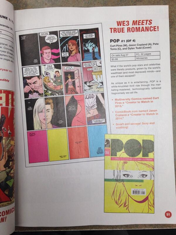 jcopland :     POP #1 is in Previews…now! Item Code: JUN140041   Let's get the word out! Retweet/reblog as you see fit. Thanks!    Written by Curt Pires   Drawn by me   Coloured by Pete Toms   Lettered by Ryan Ferrier   Cover design by Dylan Todd   Published by Dark Horse Comics!     I like every single person and entity associated with this book. Cannot wait to read it.
