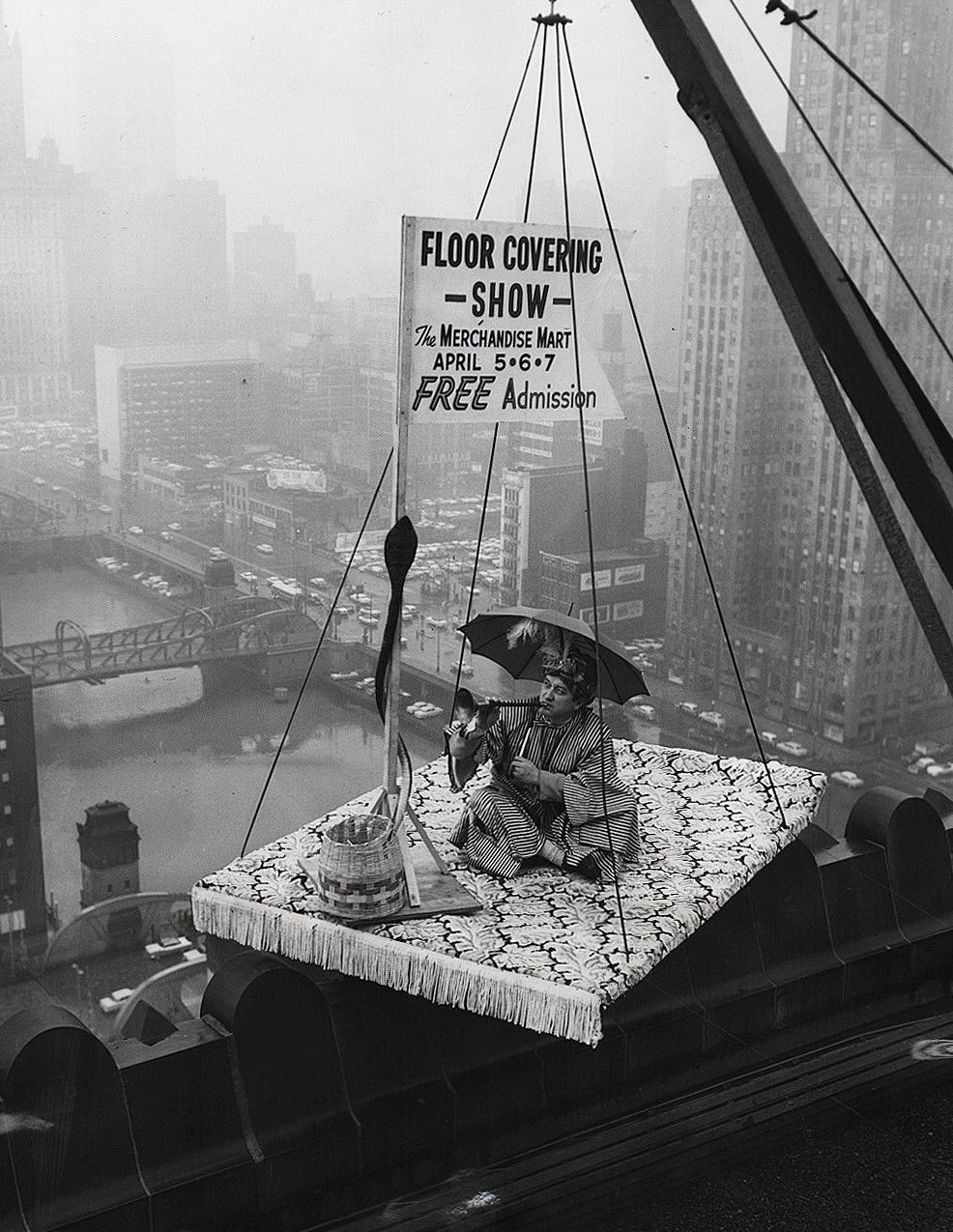 "calumet412 :     A ""flying carpet"" promotes the Floor Covering Show at the Merchandise Mart, 1957, Chicago."