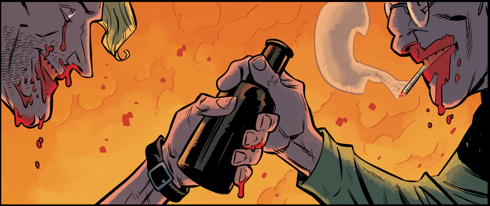 pizza-party :     One of my all-time favorite panels from a story I've edited. Read Part 4 of Christopher Sebela and Brian Churilla's  Cruel Biology  in   Dark Horse Presents  #36 !