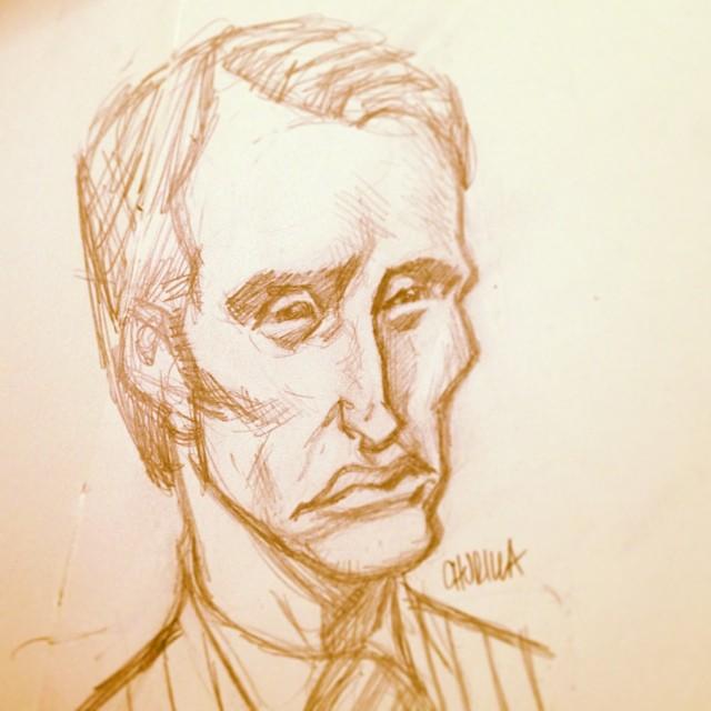brianchurilla :     #Hannibal caricature. #madsmikkelsen #nbc