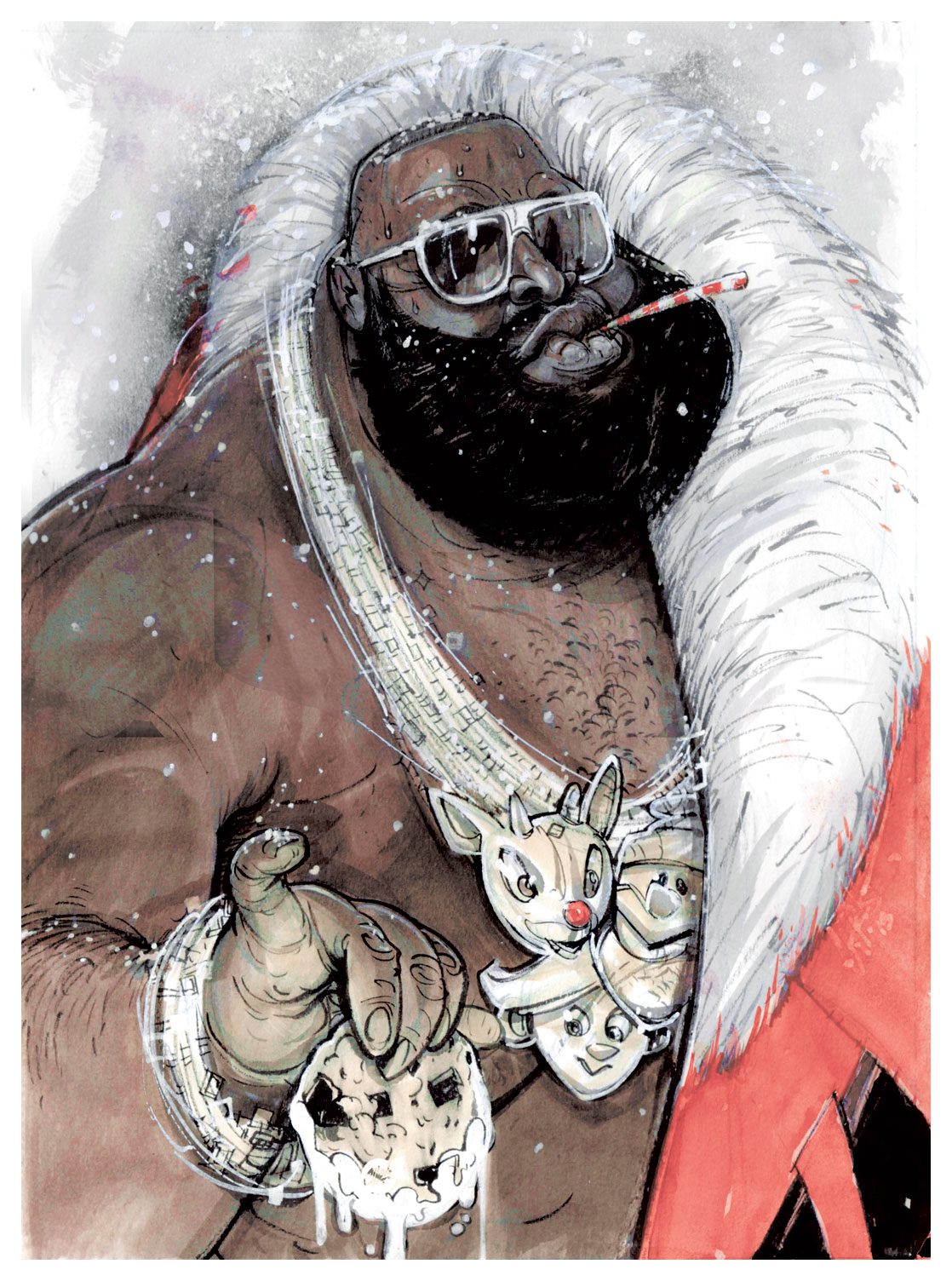 "chrisvisions :     #TBT | ""MerRUH! Christmas, from the BOSS"" - Here's a full shot of the art for  Cathryn Virginia  and I's annual Christmas card this past year.  Each card came with a holiday rap rhyming with Boss, naturally.  If you didn't get one we still have one for you… keeping the spirit alive and… yeah…yeah.   Here's a shot of the card - http://instagram.com/p/moN_FaGGp0/"