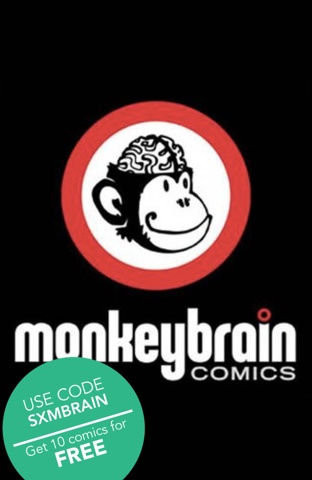 highcrimescomic :      michael-moreci :      d4vecomic :      comixology :     Next up is a code that will get you TEN FREE COMICS from our bestest friends at  monkeybraincomics ! Just use the code  SXMBRAIN   on our redeem page  and get reading! So good.      Amelia Cole #1 Bandette #1 Captain Ultimate #1 D4VE #1 Edison Rex #1 High Crimes #1 Kinski #1 Prime-8s #1 Sub-Atomic Party Girls #1 The Army of Doctor Moreau #1       This code expires 3/10/14 at 11:59pm EST.      See all the free comics we've given away so far!       Follow our liveblog of the events at the Geek Stage!       And make sure to follow us for way more FREE COMICS this weekend!       D4VE #1 and 9 other monkeybrain comics for FREE! Limited time. Wow. Such good. Many comics.     Get 10 Monkeybrain comics, including Prime-8s #1, for FREE!    HIGH CRIMES #1 free til tomorrow.    So much free quality. Who are you to refuse?