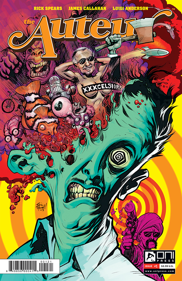 onipress :     In all its resplendent, deranged madness and glory, here's  ERIC POWELL'S  subscription variant cover for  THE AUTEUR #1 !