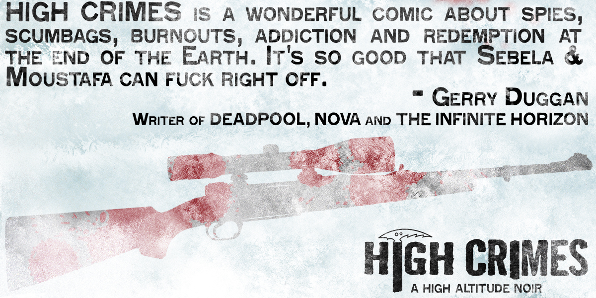 highcrimescomic :      High Crimes  6, out in 2 days, now with best pull quote ever.