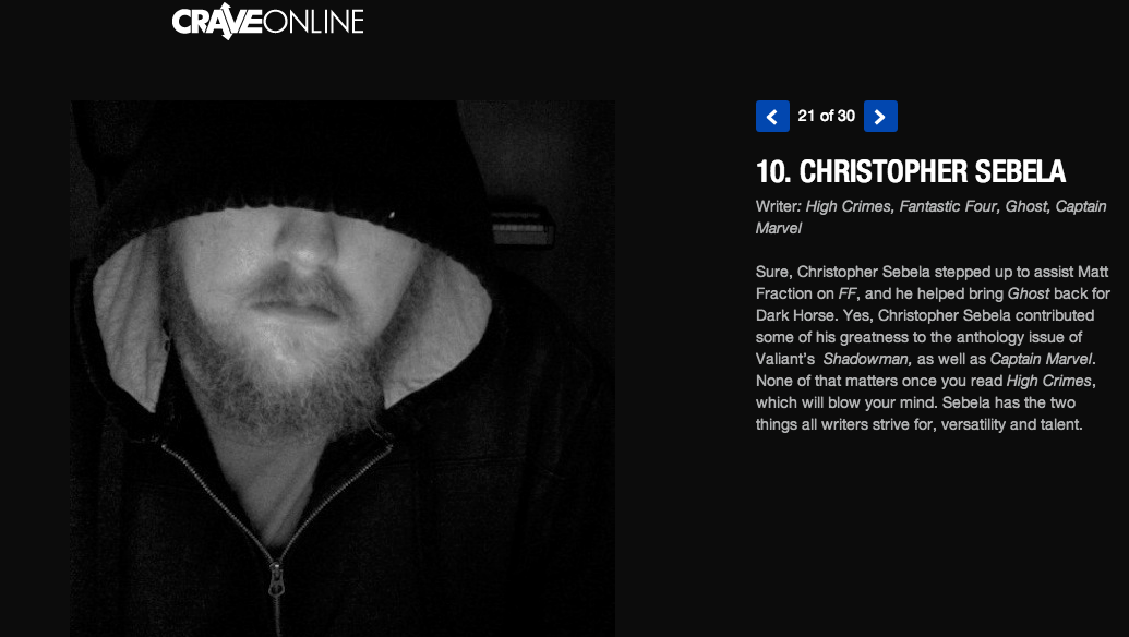 So this is weird. I'm number 10 on  Crave's 30 Creators to Watch in 2014 . Somehow I got included amongst some absurdly talented people who I wouldn't even know how to talk to in a social gathering without massive amounts of alcohol/fear-barfing.
