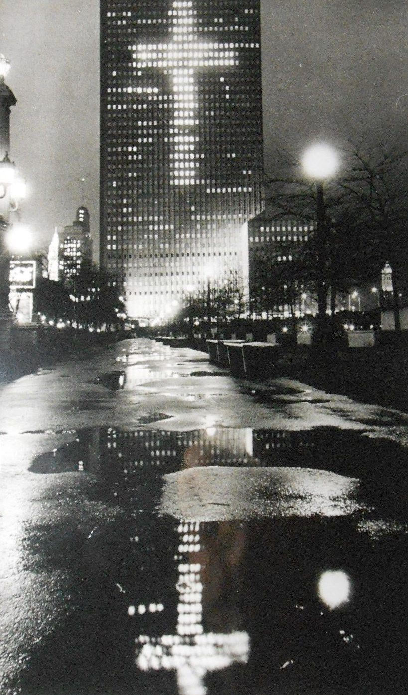 calumet412: The Prudential Building lit for Christmas, 1968, Chicago.