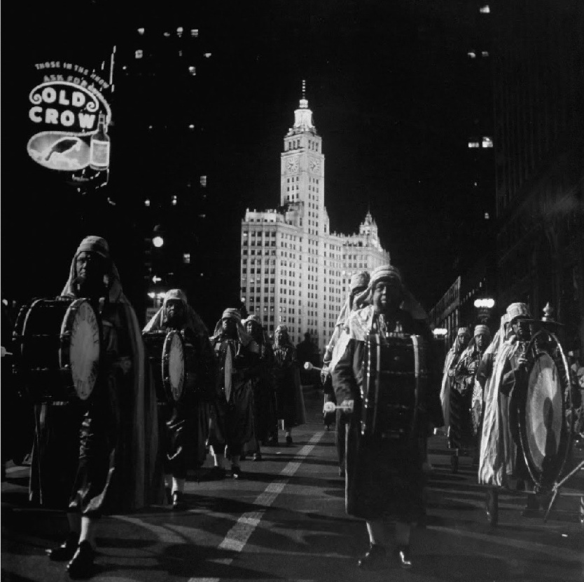 calumet412: Members of the Pyramid Temple march south on Michigan Ave, 1949, Chicago.