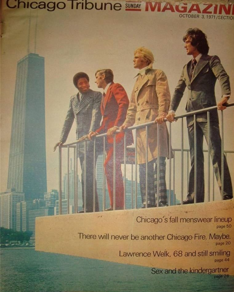 calumet412 :     The Chicago Tribune's men's fall fashion lineup, 1971, Chicago.     So many feelings.