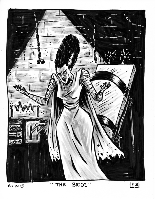 moreleeleslie: As an experiment, I'm putting this sketch of The Bride of Frankenstein's Monster up on ebay. Bidding starts low, so check it out. BID HERE.