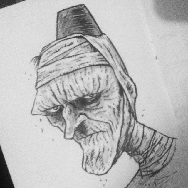 moreleeleslie :     #inktober - The Mummy in his original duds. #themummy #mummy #karloff