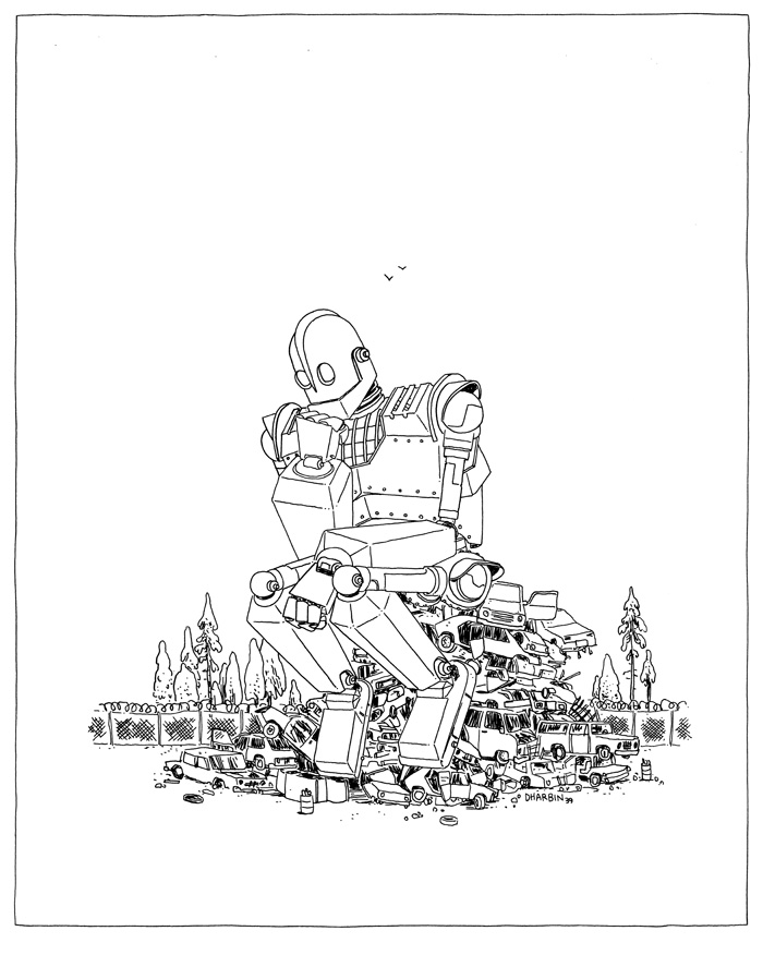 """dharbin :     THE IRON THINKER. An """"Hour Drawing,"""" available to purchase    here  , and the 200+ set of them so far  here  . Subject suggestion for this one was """"The Iron Giant."""""""