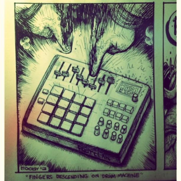 bustermoody :     Finger-punching drum pads. #inktober #stinktober #drawktoberfest #beats