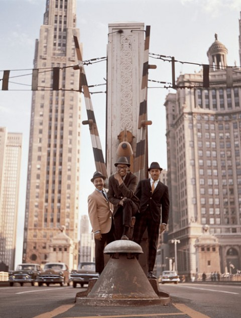 calumet412 :     The Ramsey Lewis Trio stands in the center of Michigan Ave, looking south from the bridge, 1960, Chicago.   The photo would be used for their famous  Ramsey Lewis Trio in Chicago  album.