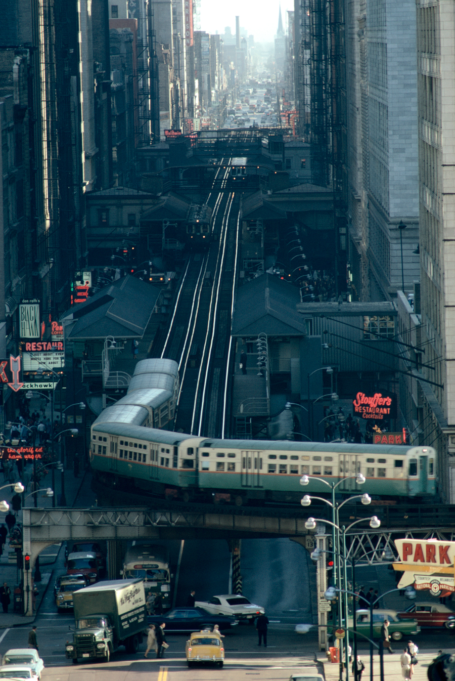 natgeofound :     A railway encircles thirty-five blocks of shops, offices, and hotels in Chicago, June 1967. Photograph by James L. Stanfield, National Geographic