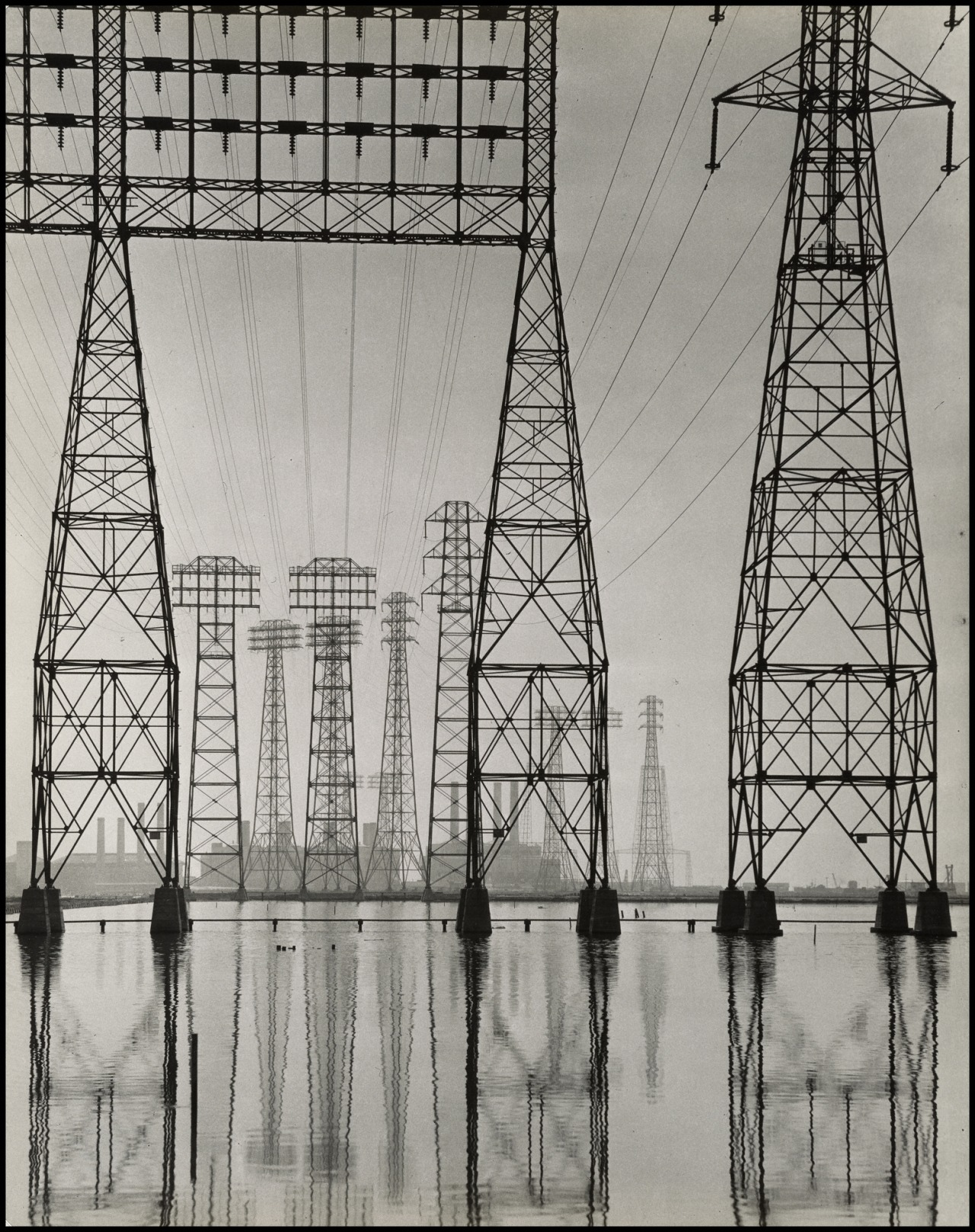 thegetty :      Just like the Los Angeles landscape, the special exhibitions pavilion rapidly changes. The last day to see  Overdrive: L.A. Constructs the Future 1940-1990  is this Sunday, July 21.      Electrical Transmission Towers  , about 1935, Will Connell. Gelatin silver print. Stephen White, Collection II,  ©  Will Connell.       pylon fetish reignited