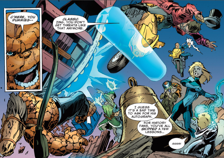 moreleeleslie :     I enjoyed watching The Fantastic Four punch out The Village Green Preservation Society.   Fantastic Four #11 by Matt Fraction, Christopher Sebela and Mark Bagley   God save strawberry jam and all the different varieties.     and this is why you are the best, Lee