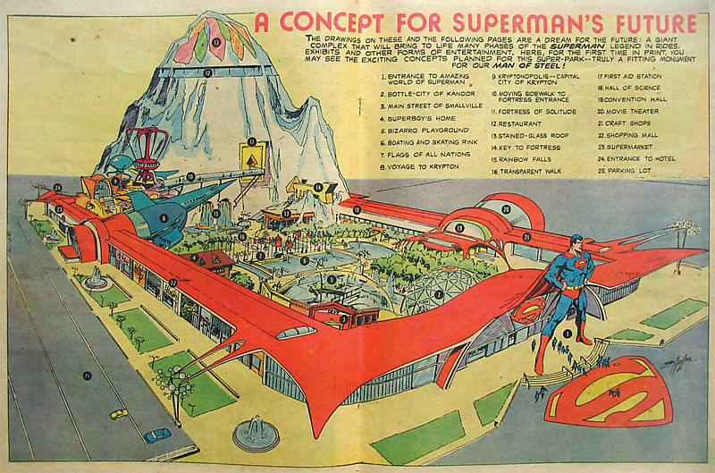sethandrewjacob :      super-graphic :     Years ago they wanted to build this enormous Superman theme park in Metropolis, IL. The funding fell through and it took a toll on the town. There's no theme park now, but there is a Superman museum and a 15-foot-tall statue. Road trip!     I used to read about this on Superman Thru the Ages when I was in middle school. I remember that they wanted to have a ride where you were in a simulation of Superman's rocket making its way to Earth, similar in style to Star Tours or the Back to the Future ride at Universal Studios.      I've been to Metropolis, Illinois and it is one of the more depressing towns I've ever stopped in. The superman statue and museum are both located across the street from the city jail.