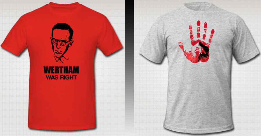 highcrimescomic :      New shirts from Team High Crimes now available for pre-order in the store.    This time around we're debuting two new models, one HIGH CRIMES related ( HAND OF GLORY ) and one for all comics nerds everywhere ( WERTHAM WAS RIGHT ). We're taking pre-orders on both shirts from now until Noon PST, Friday, July 5th.   $20 a shirt. American Apparel or Hanes or Bella for the ladies. All sizes. No extra charge for larger shirts. These are custom screenprinted tees.   Quality goods.   We've also adjusted our shipping rates to make sense, so you overseas people can get more than one shirt and not break the bank.   Here are some questions you might be asking:    WHAT'S A PRE-ORDER? : The shirts will be available to buy until next Friday. You buy it, we get the money, we take the money you paid us and put in the order for the shirts.    HOW LONG UNTIL I GET MY SHIRT? : The shirts take just under 2 weeks to get made, then a week to ship to us in Portland. We ship out all orders no more than 3 days after we get the shirts. So for Domestic folks, you get yours in just under a month. International shipping, as ever, will take mysteriously longer.    WHAT ARE YOU GOING TO DO WITH YOUR T-SHIRT RICHES? : All money goes into our pockets to keep us alive putting out more issues of HIGH CRIMES. Our comic sells for 99 cents an issue, with a lot of pie-splitting before the final amount gets to us, so merchandise helps keep us afloat.    WHERE CAN I READ THAT COMIC? : Thanks for asking, you can check it out  right here .     New Merch up at the store. Please buy lots, spread this around, throw cash at us, etc.