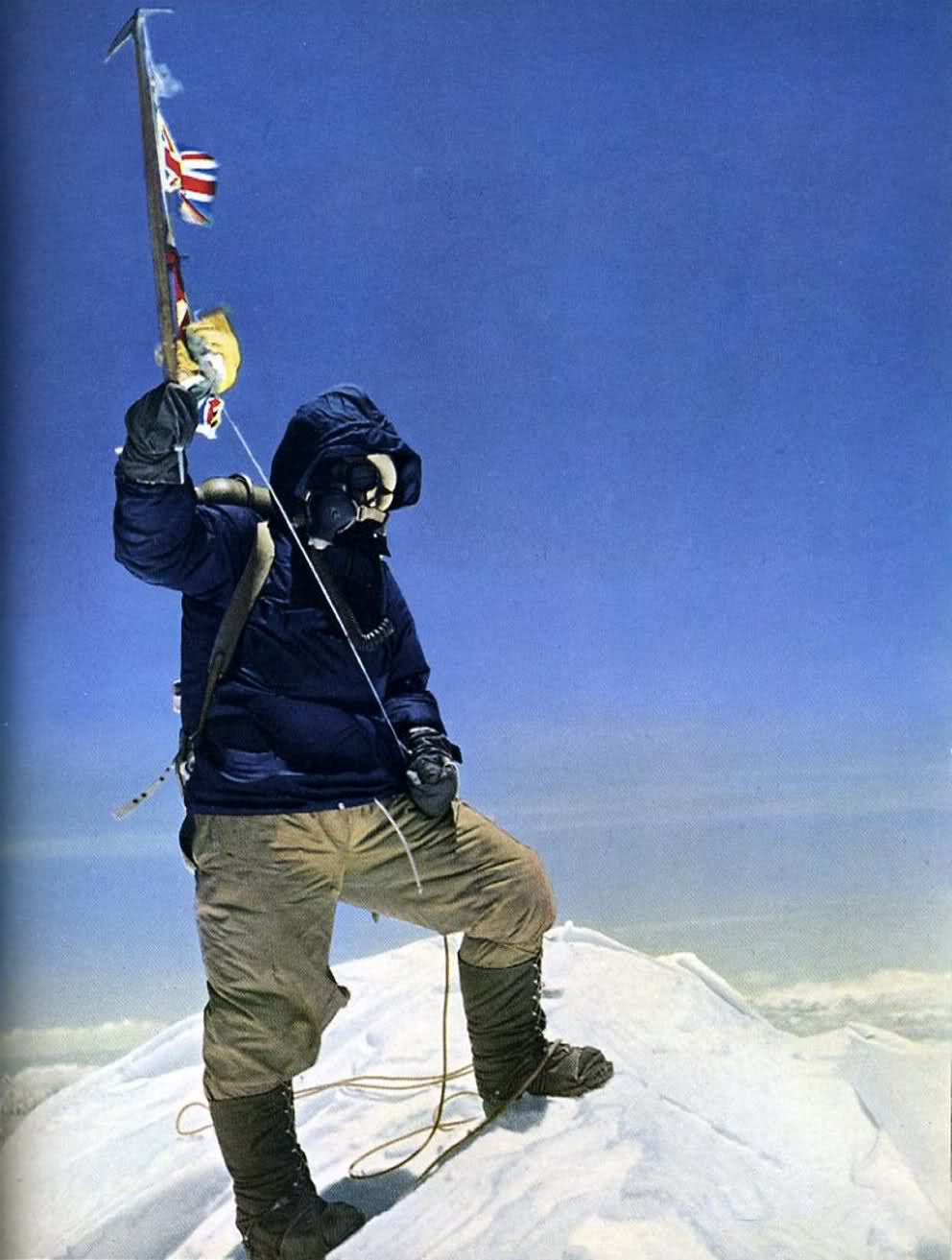 "highcrimescomic: Tenzing Norgay at the summit of Mount Everest. May 29th, 1953. 11:30am. ""We didn't waste any time. I started cutting steps again, seeking now rather anxiously for signs of the summit. We seemed to go on forever, tired now and moving rather slowly. In the distance I could see the barren plateau of Tibet. I looked up to the right and there was a rounded snowy dome. It must be the summit! We drew closer together as Tenzing brought in the slack on the rope. I continued cutting a line of steps upward. Next moment I had moved onto a flattish exposed area of snow with nothing but space in every direction. Tenzing quickly joined me and we looked around in wonder. To our immense satisfaction, we realized we had reached the top of the world! ""It was 11:30 a.m. on 29th May 1953. In typical Anglo-Saxon fashion, I stretched out my arm for a handshake, but this was not enough for Tenzing who threw his arms around my shoulders in a mighty hug and I hugged him back in return. With a feeling of mild surprise, I realized that Tenzing was perhaps more excited at our success than I was."" -VIEW FROM THE SUMMIT, Sir Edmund Hillary 60 years ago right about now, a beekeeper from New Zealand and a Nepalese sherpa were just about done with their 15 minutes of high-fiving and feeling like the literal kings of fuck mountain. And 60 years later, I get to write a comic because of it. Everything makes a weird sort of sense, because it makes no sense at all."