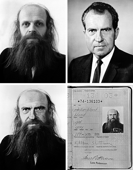 banquethall :     Slettemark / Nixon, 1974  In early 1974, the Swedish-Norwegian artist Kjartan Slettemark applied for a new passport. But the photograph he submitted had been manipulated to replace his own face with Richard Nixon's. Framed by Slettemark's scraggly beard, the US president's face went undetected by the issuing authorities.       Automatic Nixon Scambo Reblog.