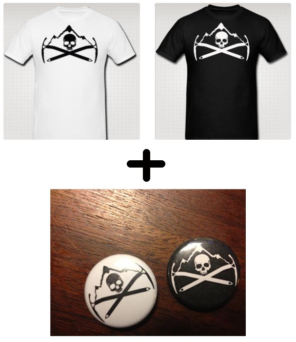 There are just two days left to  pre-order HIGH CRIMES t-shirts . Pre-order ends  Friday at noon , at which time we send off the order and await all manner of t-shirty goodness to come our way and send off to you.   Each order gets you a free HIGH CRIMES button included (please specify during checkout which color button you want), a HIGH CRIMES postcard we had made specially for ECCC and the satisfaction of knowing that all money made goes right into mine and Ibrahim's pockets, to help us keep making HIGH CRIMES without having to rob, steal, kickstarter or get (worse) jobs (than we already have) to keep it going.    WHY PRE-ORDERS? I WANT MY SHIRT NOW: We're two dudes incapable of being a t-shirt empire on top of putting out a comic every month, so pre-orders are voting with your wallet and securing your shirt without us having to guess blindly who wants what and sitting on a vault full of unsold clothing.    If you have no idea what HIGH CRIMES is?  You can pick up our first two issues for less than $2.  I dare you to find a better bargain. I DARE YOU.   Thanks for your time, attention, dollars and love.