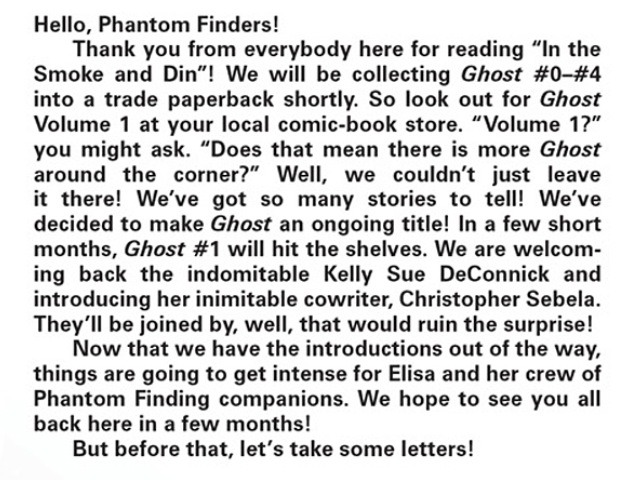 So this got announced today, I guess? It was in the GHOST letter column at least. I'll be co-writing the ongoing series with Kelly Sue and, by my best estimate, it's going to be effin sweet.