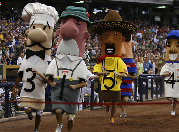 "Guido, one of the Milwaukee Brewers' sausages that run the bases at home games, has been found.    The seven-foot tall, $3,000  1950s-level racial stereotype  Italian sausage costume was reported missing on Feb. 16. But Wednesday, two men walked into a suburban Milwaukee bar, deposited the costume on a bar stool and took off.    According to the Milwaukee Journal, Guido's garb was found inside TJ Ryan's bar in Cedarburg, Wisc. Bartender Jen Mohney said the men told her, ""You did not see anything.""    To that, Mohney thought to herself, ""Like I didn't just see two guys  plop a sausage on a barstool. """