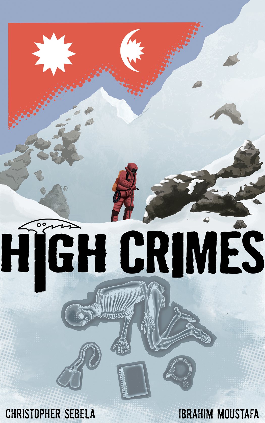 0 Days. HIGH CRIMES is officially a real thing, no longer a figment of our collective imagination, it's on sale and available right  here .   A few things to note:    1. HIGH CRIMES is a digital-only comic from Monkeybrain Comics. It's available exclusively thru Comixology and your 99 cents allows you to read it on your desktop, laptop, tablet or phone (where technologically applicable).    2. It's 18 pages total, including my blathering essay and backmatter.   3. Buying with the link above ( remember that? ) directly from Comixology's website sends more money our way. Buying via iTunes is fine too, though. Whatever you wanna do, we want you to do.   4. We do this book for free. The only money we stand to see from it is from  sales . This is about as direct a market as you can get. No pre-orders, no running out of print, no hindrance to buying a comic from the bathroom at 3 in the morning if you feel like it.   It's just us making our book and you buying it, sort of like the post-apocalypse economy, but without the unpleasantness of marauders.   5. If you like it, tell some people, maybe? I hear social networking is a good way to do that, if you're into that. Also? (so pushy, I know) if you could rate it on the  Comixology website , that might help too. Who knows? Basically, if you wanna help soldier the cause, we love you in advance.    Ibrahim and I met on my birthday, back in July, by a totally random set of pancake-based circumstances, and a week later we were working on the book in earnest, Ibrahim starting on character sketches while I pounded my head against a script I'd been writing in my head for the last 2 years and now had to somehow make a real thing. More than 6 months later, here we are, with No. 1 on sale the same day we're putting No. 2 to bed. It's been exhausting, but more than that, it's been awesome.    I haven't slept in like 20 hours, so hopefully that ineptly-told hard luck tale inspires you to  drop 99 cents  on our book, a book even I (after much freaking out and yard barfing) think is pretty good. We're only getting better as we go.