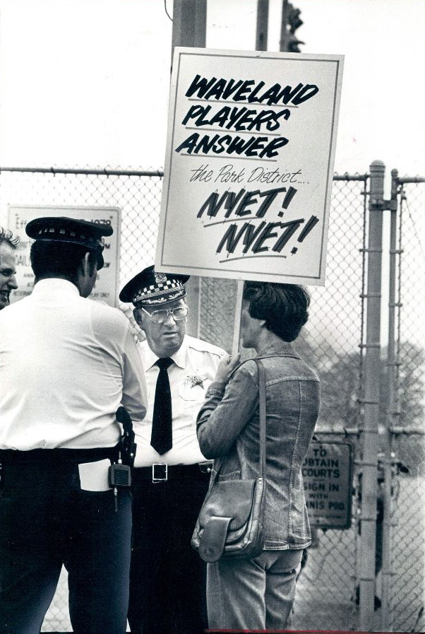 calumet412 :     Protesting a proposed $2 fee to use the Waveland Tennis Courts on Recreation Drive in Lincoln Park, 1972, Chicago