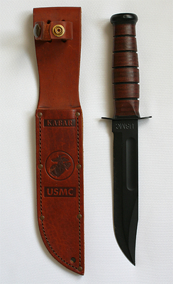 "The owner of the KA-BAR trademark, the Union Cutlery Co. of Olean, New York, began using the name on its knives and in its advertising in 1923 after receiving a testimonial letter by a fur trapper, who used the knife to kill a wounded bear that attacked him after his rifle jammed. According to company records, the letter was only partially legible, with ""ka bar"" readable as fragments of the phrase ""kill a bear"". In 1923, the company adopted the name KA-BAR from the ""bear story"" as their trademark. Beginning in 1923, the KA-BAR trademark was used as a ricasso stamp by Union Cutlery Co. on its line of automatic switchblade pocket knives, including the KA-BAR Grizzly, KA-BAR Baby Grizzly, and KA-BAR Model 6110 Lever Release knives."
