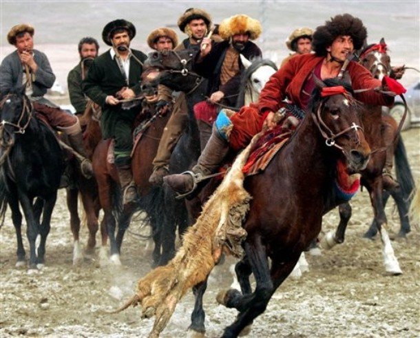 Buzkashi is the Afghan national sport. It is also a popular sport among the south Central Asians such as the Uzbeks, Hazaras, Tajiks,Kyrgyz, Kazakhs, Turkmens and Pashtuns. Buzkashi is often compared to polo. Both games are played between people on horseback, both involve propelling an object toward a goal, and both get fairly rough. However, polo is played with a ball, and buzkashi is played with a headless goat carcass. Polo matches are played for fixed periods totaling about an hour; traditional Buzkashi may continue for days.