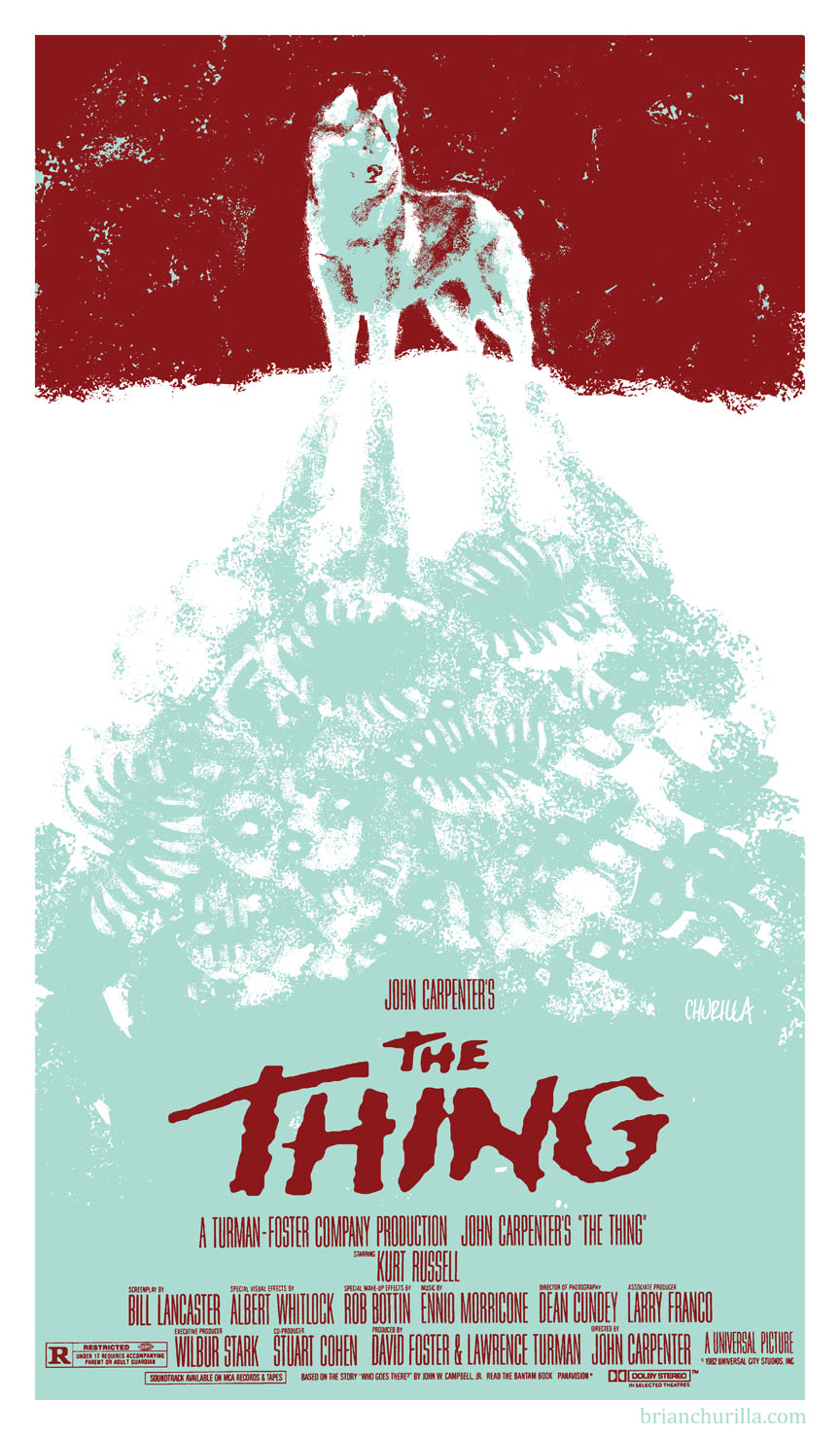 "brandnewnostalgia :     This week at   Brand New Nostalgia   we'll be celebrating the cinematic work of   John Carpenter  , whose films include such classics as  THEY LIVE ,  HALLOWEEN , and  ESCAPE FROM NEW YORK  — just to name a few.   We're kicking things off with   Brian Churilla's    re-imagined movie poster for John Carpenter's  ""The Thing""      ~BNN"
