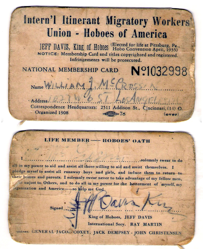 These are some fancy hobos, with their addresses written in pen and their devotion to God and America. I call bullshit.    lazymercenary :     hey  thoughpeach , you have an oath to memorize.    heyoscarwilde :     Hoboes of America membership card with the Hoboes' Oath circa 1939 :: via  flickr.com