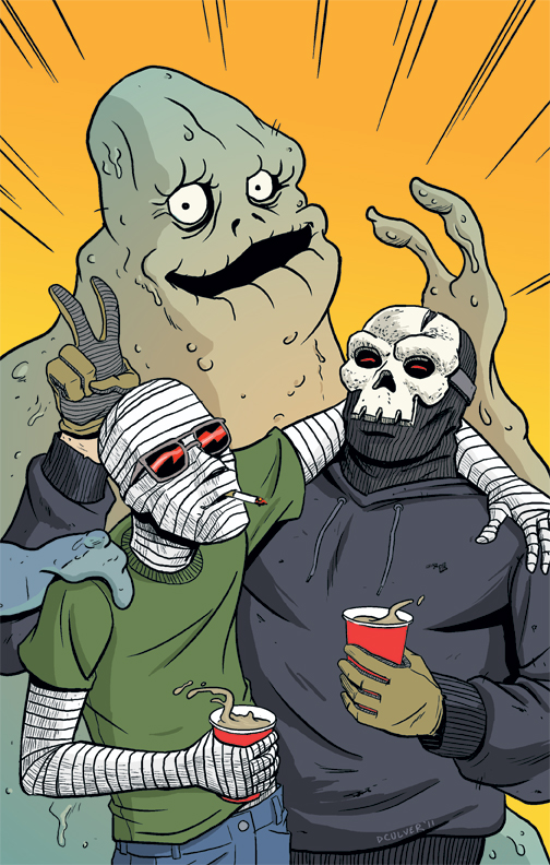dennisculver: Just some horror bros hanging out. Here's my pinup that appeared in the tpb for SCREAMLAND: DEATH OF THE PARTY which came out last week from Image Comics. The book was written by Chris Sebela who co-wrote a book with me that I'm illustrating right now.  You should be able to pick up Screamland at all the best comic shops. It's a good read!  Bros. Relevant to my interests.