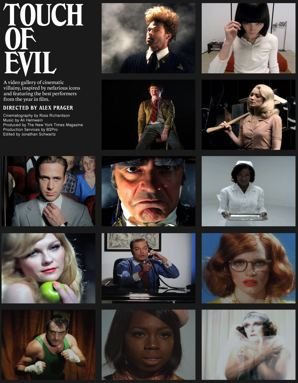 Videos for the New York Times' Hollywood Issue . Brad Pitt is Eraserhead. Rooney Mara dresses as a droog. George Clooney's eyebrows. Viola Davis covered in ladybugs. Ryan Gosling the Invisible Man. Gary Oldman makes an oddly logical ventriloquist dummy.   Hit or miss, but still a stellar showing.